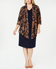 Connected Plus Size Layered-Look Sheath Dress