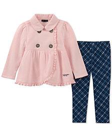 Tommy Hilfiger Toddler Girls 2-Pc. Ruffle-Trim Fleece Jacket & Leggings Set