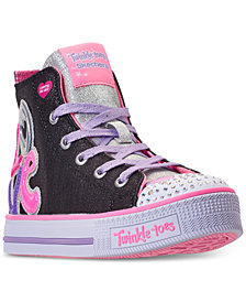 Skechers Little Girls' Twinkle Toes: Twinkle Lite - Peace Princess High Top Light Up Casual Sneakers from Finish Line