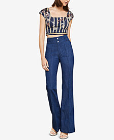 BCBGMAXAZRIA Striped Floral-Sequined Crop Top