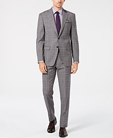 Tallia Men's Slim-Fit Gray/Purple Plaid Wool Suit