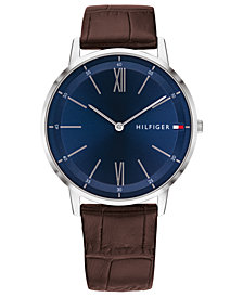 Tommy Hilfiger Men's Brown Leather Strap Watch 40mm Created for Macy's