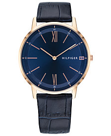 Tommy Hilfiger Men's Blue Leather Strap Watch 40mm