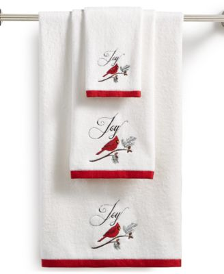 Cardinal Embroidered Cotton Hand Towel, Created for Macy's