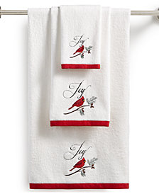 CLOSEOUT! Martha Stewart Collection Cardinal Embroidered Cotton Hand Towel, Created for Macy's