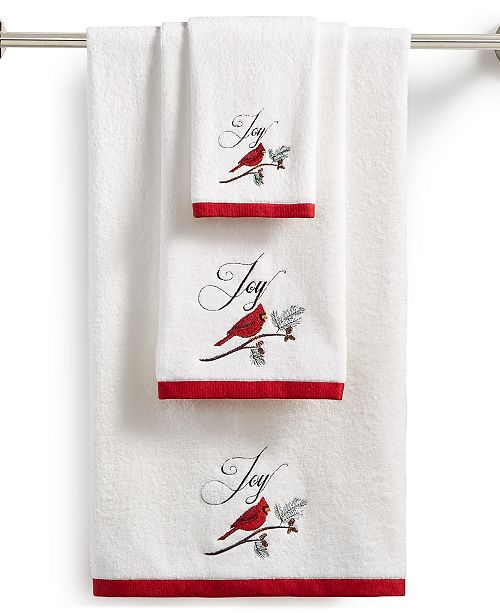 Martha Stewart Collection CLOSEOUT! Cardinal Embroidered Cotton Towel Collection, Created for Macy's