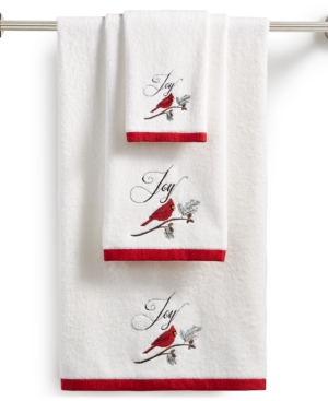 Image of Martha Stewart Collection Cardinal Embroidered Cotton Hand Towel, Created for Macy's Bedding