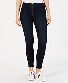 Rewash Juniors' Ankle-Length Raw-Hem Jeggings