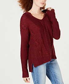 American Rag Juniors' High-Low Mixed-Knit Hoodie, Created for Macy's