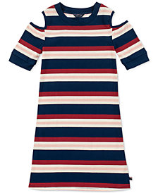 Tommy Hilfiger Big Girls Ribbed Cold Shoulder Dress