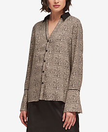 DKNY Printed Button-Front Shirt, Created for Macy's