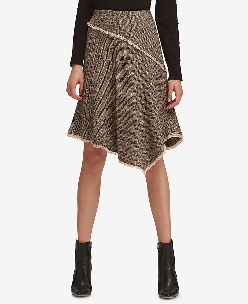 DKNY Asymmetrical Tweed Skirt