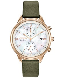 Eco-Drive Women's Chronograph Chandler Olive Green Vegan Leather Strap Watch 39mm
