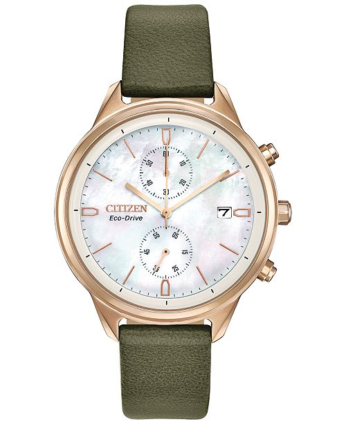 Citizen Eco-Drive Women's Chronograph Chandler Olive Green Vegan Leather Strap Watch 39mm