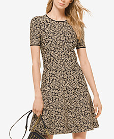 MICHAEL Michael Kors Jacquard Printed Metallic Sweater Dress