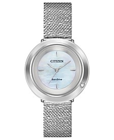 Eco-Drive Women's L Ambiluna Diamond-Accent Stainless Steel Mesh Bracelet Watch 32mm