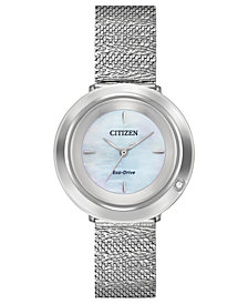 Citizen Eco-Drive Women's L Ambiluna Diamond-Accent Stainless Steel Mesh Bracelet Watch 32mm
