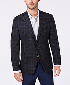 Lauren Ralph Lauren Men's Slim-Fit UltraFlex Stretch Charcoal/Blue Plaid Wool Sport Coat