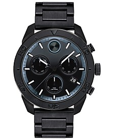 Men's Swiss Chronograph BOLD Black Stainless Steel Bracelet Watch 44.5mm