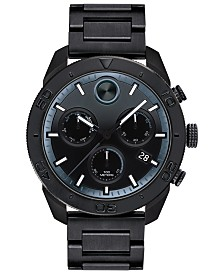 Movado Men's Swiss Chronograph BOLD Black Stainless Steel Bracelet Watch 44.5mm