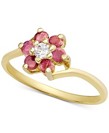 Multi-Gemstone Flower Ring (1/3 ct. t.w.) in 18k Gold-Plated Sterling Silver (Also in Ruby, Blue Topaz, Sapphire and Emerald with White Topaz Accent)
