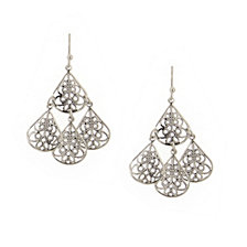 2028 Silver-Tone Multi-Pear Shaped Filigree Drop Earrings
