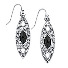 2028 Silver-Tone Black Stone Marcasite-Look Drop Earrings
