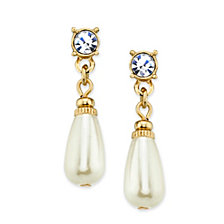 2028 Gold-Tone and Simulated Pearl Teardrop Earrings