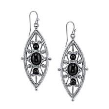 Silver-Tone Black Filigree Drop Earrings