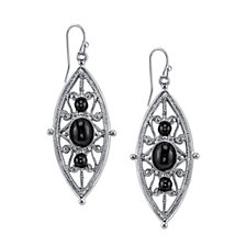 2028 Silver-Tone Black Filigree Drop Earrings