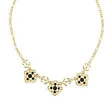 "2028 Gold-Tone Jet Filigree Collar Necklace 16"" Adjustable"