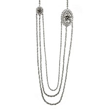 """Silver-Tone Crystal Flower Triple Chain Necklace 30"""""""