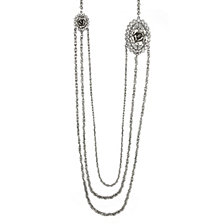 2028 Silver-Tone Crystal Flower Triple Chain Necklace 30""