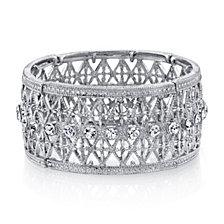 2028 Silver Tone Crystal Wide Lattice Filigree Bracelet