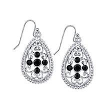 2028 Silver-Tone Black Filigree Teardrop Earrings