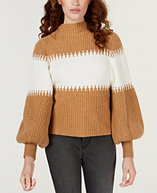 French Connection Striped Blouson Sleeve Sweater