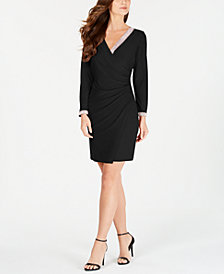 MSK Petite Embellished Faux-Wrap Dress