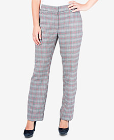 NY Collection Plaid Straight-Leg Pants
