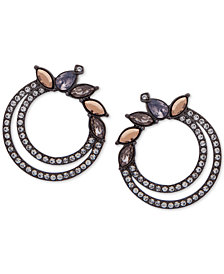 Jenny Packham Hematite-Tone Crystal Double Hoop Earrings