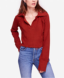 Free People Darcy Frayed Cotton Long-Sleeve Sweater