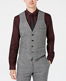 Bar III Men's Slim-Fit Black/White Plaid Suit Vest, Created for Macy's