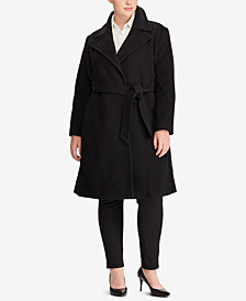 Lauren Ralph Lauren Plus Size Wool-Cashmere Blend Notch Collar Wrap Coat