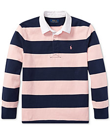 Polo Ralph Lauren Big Boys Pink Pony Striped Cotton Rugby Shirt