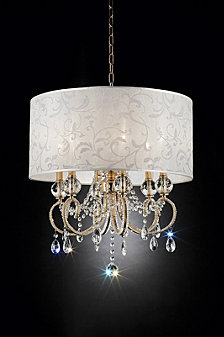 "24.5"" Aurora Barocco Shade Crystal Gold Ceiling Lamp"