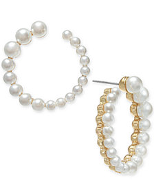 Alfani Gold-Tone Imitation Pearl Hoop Earrings, Created for Macy's
