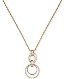 "Two-Tone Hoop Link Pendant Necklace, 32 + 2"" extender, Created for Macy's"