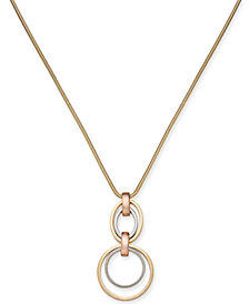 "Alfani Two-Tone Hoop Link Pendant Necklace, 32 + 2"" extender, Created for Macy's"