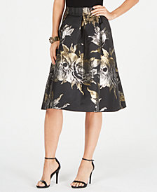 MSK Metallic-Print Skirt