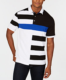 Club Room Men's Striped Colorblocked Polo, Created for Macy's