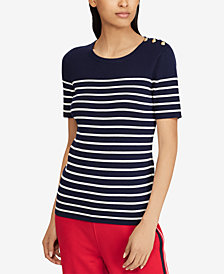 Lauren Ralph Lauren Button-Trim Striped Sweater